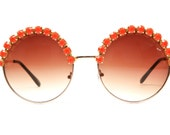 Angela Coral Rhinestone Large Round Half Studded Sunglasses (Coral/Gold)