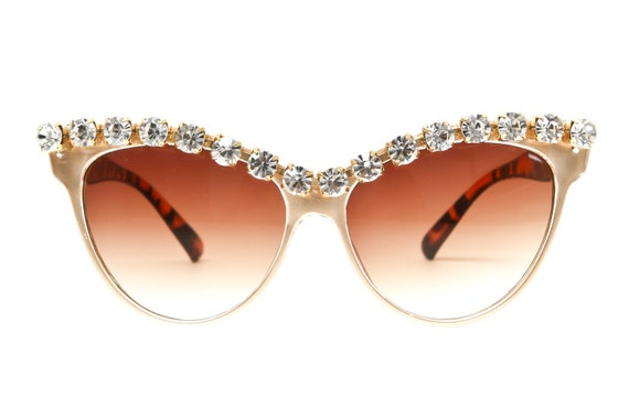 Kershaw Rhinestone Cateye Sunglasses Crystal Gold