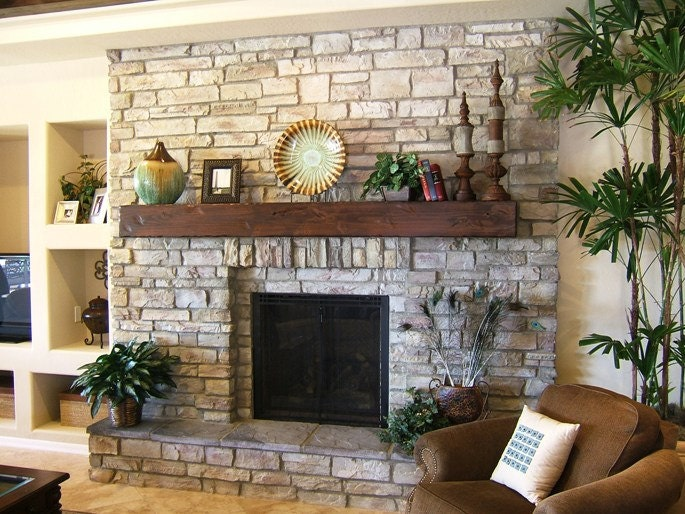 Knotty Alder Distressed Beam Fireplace Shelf Mantel In A Dark