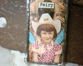 "soldered glass pendant, fairies, ""cowgirl fairy"", fun gift idea, handcrafted"