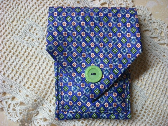 Wallet made from upcycled man's necktie. Purple, green, orange, blue.