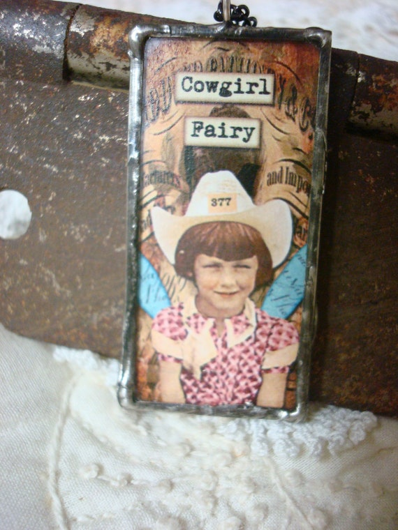 """soldered glass pendant, fairies, """"cowgirl fairy"""", fun gift idea, handcrafted"""