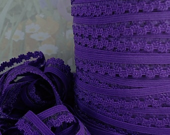 5yds Elastic 3/8 inch Purple Skinny Elastic with Decorative Edging for Headbands Sewing lingerie Single sided Edging Elastic by the yard