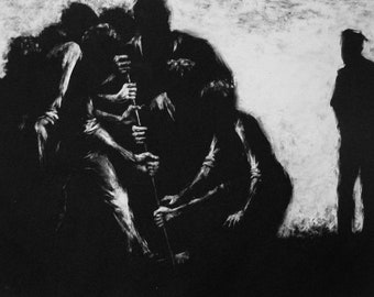 "Haunting Figure Print Black Landscape Dark Creepy Spooky Hand Pulled Fine Art Monotype ""Ensemble"""