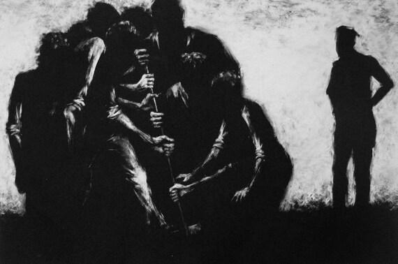 "Haunting Figure Print Black Landscape Dark Creepy Spooky Hand Pulled Fine Art Monotype ""Ensemble"""