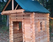 Children's Log Cabin Play House - awesome wooden lincoln log style - FREE SHIPPING