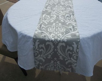 Special 8.00 Gray and White damask table runner