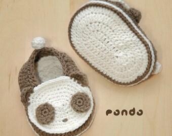 Crochet Pattern Baby Crochet Pattern Panda Baby Booties Panda Preemie Socks Animal Shoes Panda Applique Newborn Baby Slippers Black White
