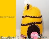 Felt Beehive Pincushion/Pin keeper/ Felt Toy/Home decor, Handmade/ hand-stitched , No glue  No sewing machine
