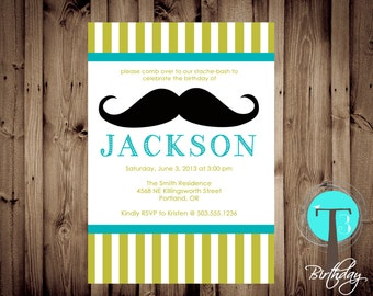 Mustache Bash Printable Invite, Stache Bash invitation, birthday invite, mustache(Birthday Invitation)