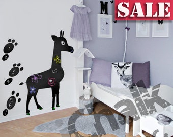 30% off - Giraffe Chalkboard Sticker Wall Decal for Home or Office - Blackboard Vinyl Sticker Chalkboard Planner