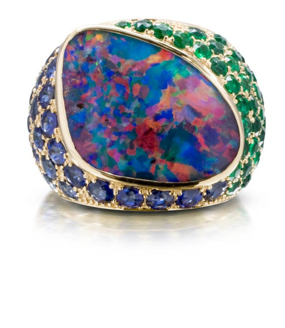 Amazing Boulder Opal, Emerald, and Sapphire RIng