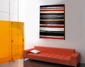 Large Modern Painting, Title: Side by Side , 30X20 INCH  (Orange,Brown, White,Black and Silver)