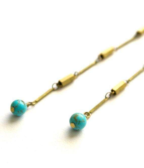 Golden Chain Earrings, Long Turquoise Dangle Earrings, Boho Earrings