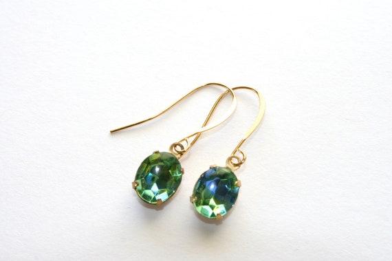 Small Green Tourmaline Earrings, Blue Green Glass Rhinestone, Green Rhinestone Earrings, Bridesmaid Gift