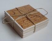 Antique Script Travertine Coaster Set