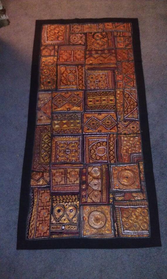 Vintage Indian Patchwork Wall Art Tapestry Jaipur Sindhi Art India Ethnic Decoration