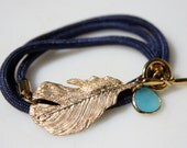 SunKissed Sisters cord wrap bracelet-  Feather Collection