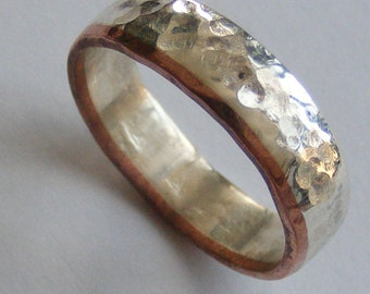 Silver and Copper Male Wedding Band