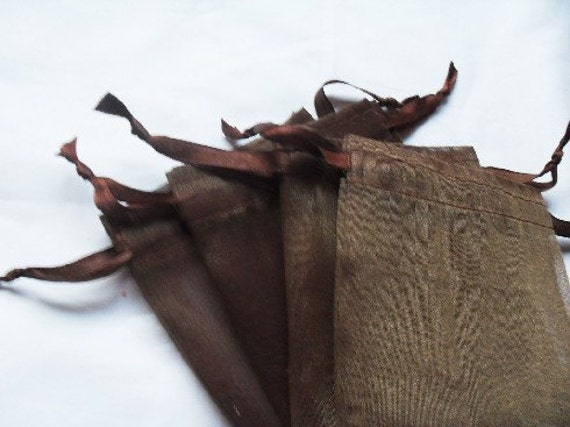 125 Dark Brown Organza bags, 3x4 inch