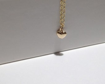 Dainty Gold Fill Heart Necklace, Gold Necklace, Thin Chain Necklace