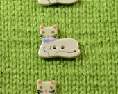 Handpainted ceramic white kitten w blue bow buttons  x 3