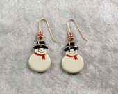Handpainted ceramic snowmen earrings w 12K gold filled ear wires