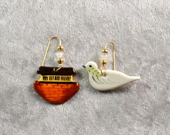 Handpainted ceramic Noah's Ark and Dove earrings