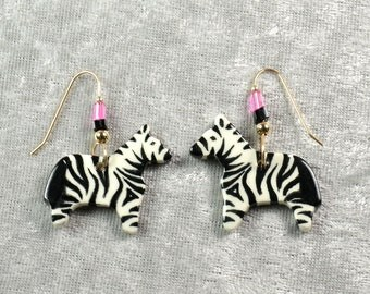 Handpainted ceramic Zebra earrings with 12K gold filled ear wires