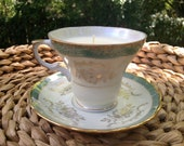 Teal and Gold Tea Cup Candle with Saucer