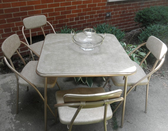 Mid Century Hamilton Cosco Card Table and 4 Folding Chairs Stylaire Line