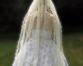Lace Fingertip Veil, Ivory Wedding Veil, Chantilly Lace