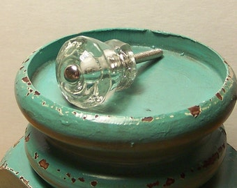 Clear Glass Knob, Cottage Chic, Shabby Chic, Vintage-Inspired, Coat Hanger, Jewelry Holder