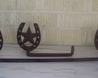Rustic Horseshoe and Star Towel Rack with Toliet Tissue Holder-Cowboy Western Decor-Cast Iron