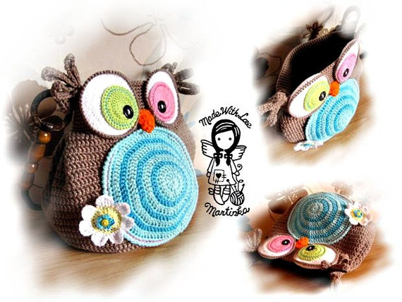 Hand Purse Patterns : Crochet PATTERN, Bag Jolly Owl, Purse, Hand Bag, DIY Pattern 28