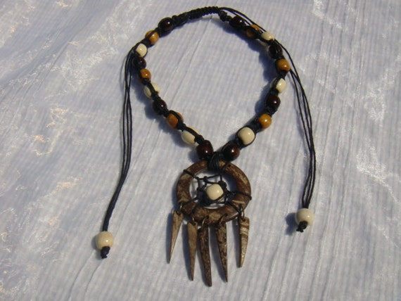 Macrame wood bead necklace,with coconut shell dream catcher pendant