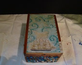 Ocean liner with blue shells mosiac memory box