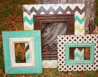 distressed hand painted custom chevron picture frame grouping | gallery wall | wall decor | picture frame set |custom wood picture frames