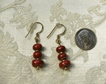 Oxblood Coral Stacked Rondelle Earrings; Red Coral Drop Earrings; Handmade