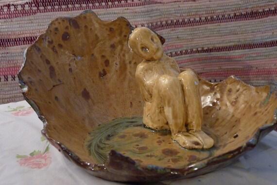 """Escultura en cerámica """"El hada del agua"""" marrón, púrpura, Neutral"""
