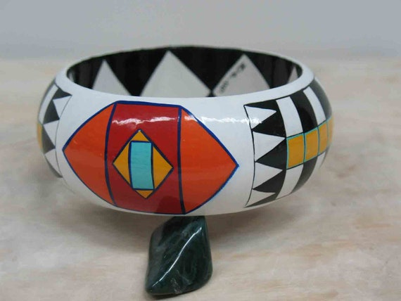 Stunning SOUTHWESTERN  Bangle  Bracelet - Art Bangle CONTEMPORARY Wearable ART Bangle