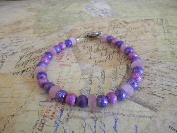 Beaded bracelet pink and purple purple and by saintinterlude - Purple and red go together ...