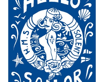 Hello Sailor , a saucy, slightly retro, nautical print