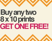 SALE: Buy any two 8 x 10 prints, get one free.