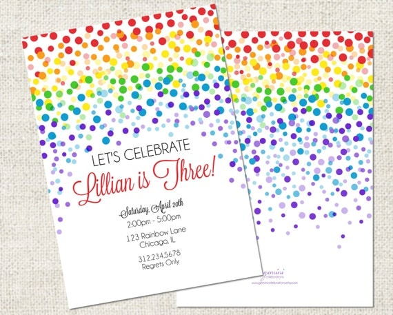 Rainbow Confetti Birthday Invitation Printable Rainbow