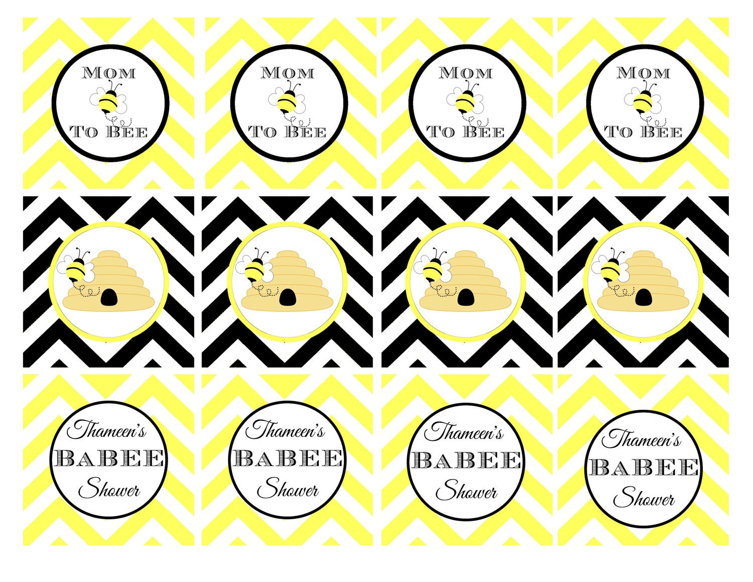 PRINTABLE: Bumble Bee Baby Shower Cupcake Toppers 2