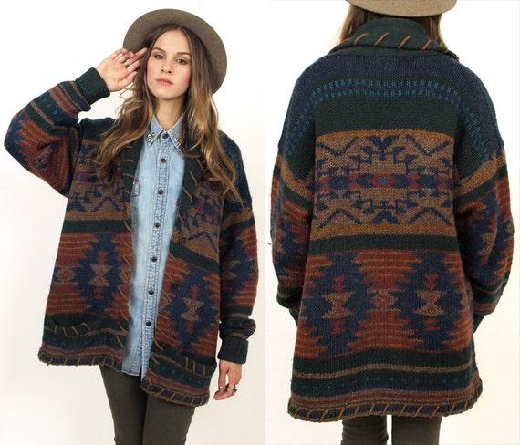Woolrich SouthWestern Navajo Tribal Wool Cardigan Sweater S/M