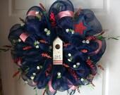 Primitive Birdhouse Deco Mesh Wreath