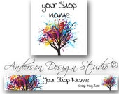 Colorful Paint Tree Splatter Banner and Avatar Set