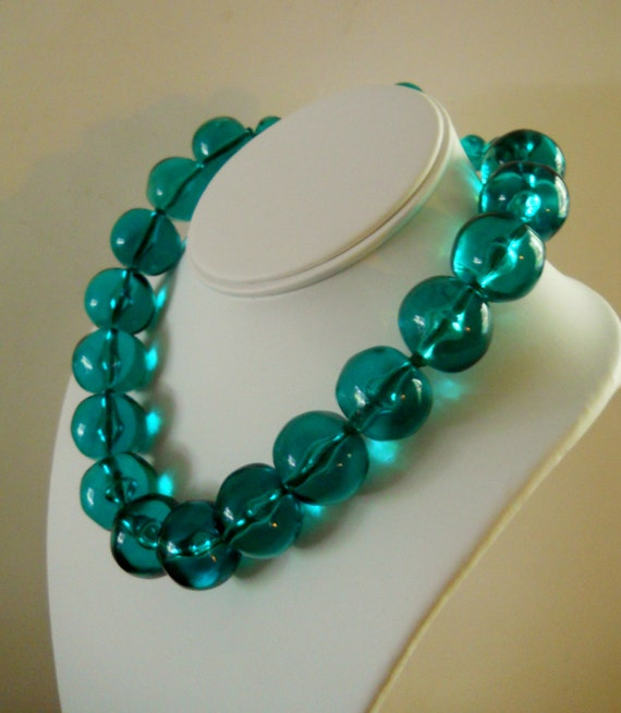 Lucite Necklace & Earrings Vintage Les Bernard Teal Green Couture Runway c. 60's